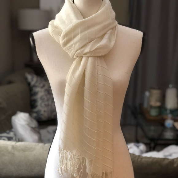 bdc0522f5 Accessories | Cream Lightweight Textured Scarf | Poshmark